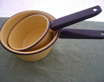 Vintage Enamelware Sauce Pan Set of 2 Yellow and Black