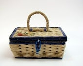 Vintage 1950s Small Woven Sewing Box