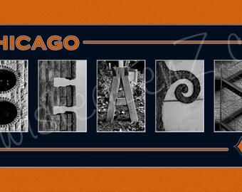 Chicago Bears Football Alphabet Photo Collage
