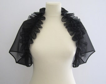 Bridal Bolero Wedding Bolero Shrug Wrap Shawl Stole Alternative : MOZEE Ruffle Floral Mohair Chiffon Short Sleeve Bolero
