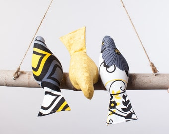 Threes a Crowd Bird Swing in vibrant Yellow, Black, Gray and White