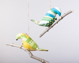 Bird on a Twig in Cheerful Greens and Blues ~ Home Decor ~ Kid's Room Decor ~ Nursery Decor