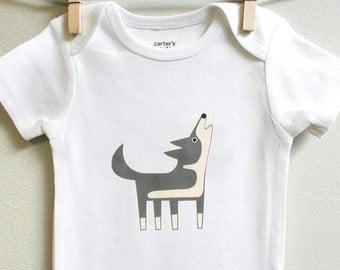 Wolf baby bodysuit, wolf baby onesie, 3 mos - 18 mos