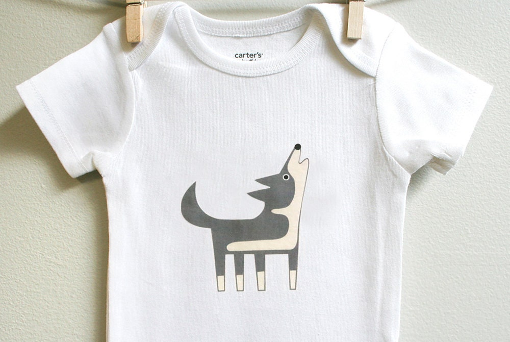 Baby clothes wolf Long or short sleeve by
