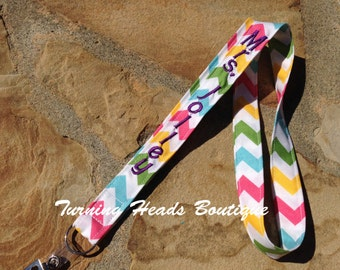Chevron Lanyard ID Badge Holder / Personalized Teacher Lanyard / Monogrammed / Teacher Appreciation Gift