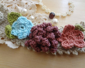 Crocheted Flower Bracelet - Crocheted statement Bracelet - crocheted flowers - crocheted accessoriesMade to order