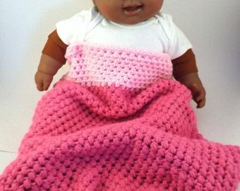 Pink Crochet Baby Hat & Bunting Set, Cocoon, Sleep Sack, Blanket