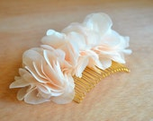 Creamy, Peach, Floral, Hair Comb: Blush, Chiffon, Bridal, Wedding, Head Piece