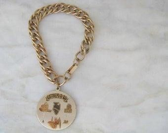 60s Chicago Illinois Charm Coin Bracelet Vintage