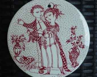 Bjorn Wiinblad Wall Plaque Trivet. Man, Woman, Couple, Lovers. Vintage 1960s. Nymolle. Made in Denmark. November. Mid Century.