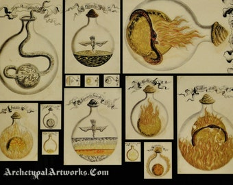 Postcard of alchemical images