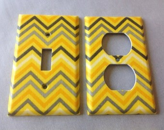 yellow and gray chevron striped single light switch cover yellow grey nursery yellow gray