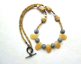 Mustard Necklace, Black Beaded Necklace, Beadwork, Single Strand Necklace, Jade Necklace, Tribal Necklace, Rustic Necklace