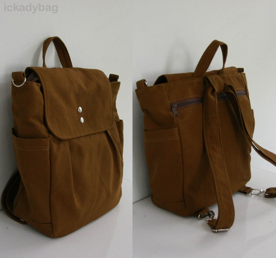 SALE Convertible Backpack / Rucksack in Brown / Diaper bag /