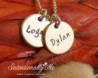 Hand Stamped Mommy Necklace - Personalized Jewelry - 14K Gold Filled Mommy Jewelry - Mini Name Tags Duet