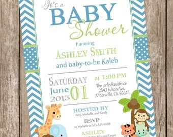 Boy Jungle Baby Shower Invitation, jungle, chevron, blue, green, safari, typography, printable invitation