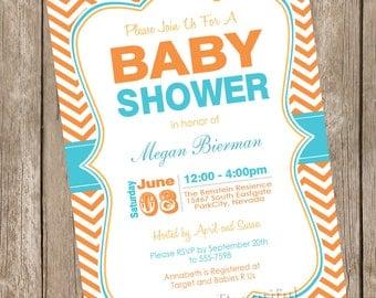Orange and Teal baby shower invitation, chevon, orange, teal, aqua, printable invitation