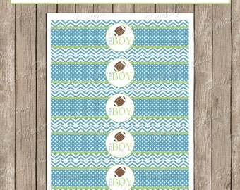 Water Bottle Wraps - Football Blue and Green Chevron Baby Shower Water Bottle Label - Bottle Wrap fb1  INSTANT DOWNLOAD