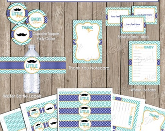 Little man mustache baby shower package, boy baby shower package, chevron, blue, green, moustache, printable(INSTANT DOWNLOAD) - lm1