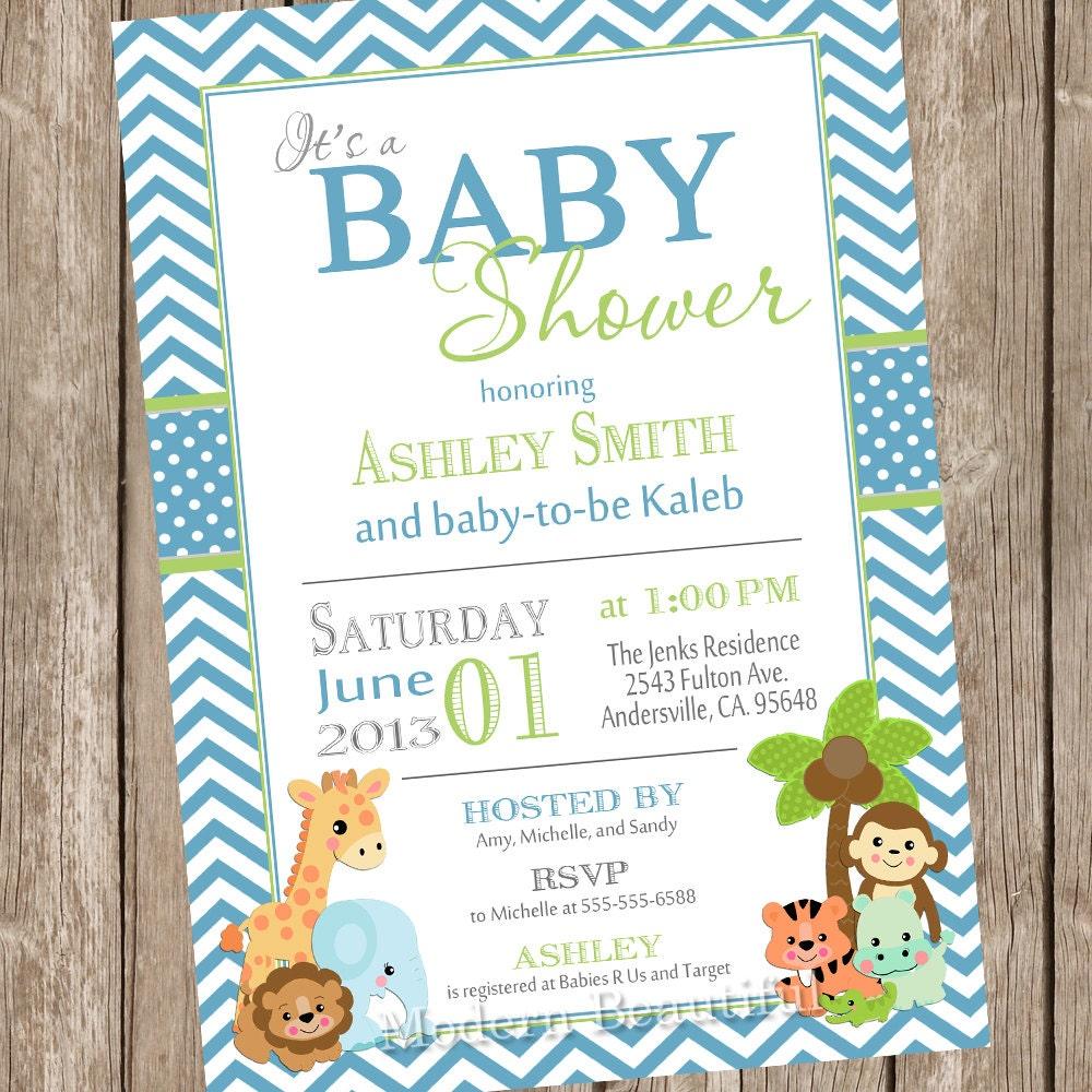 Safari Baby Shower Invitation: Boy Jungle Baby Shower Invitation Jungle Chevron Blue