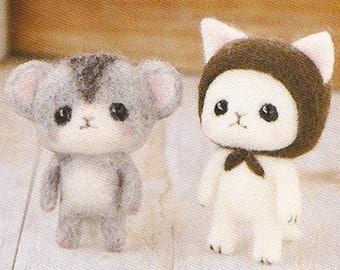DIY Needle wool felt Cat and hamster  KIT Japanese craft kit