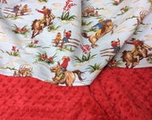 Cowboy Baby Blanket, Blue, Choose  Red or White Minky Dot, Horses, Retro Baby Boy, Western Baby Blanket