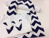 Personalized Chevron  Baby Gift Set, Gender Neutral, Boy, Girl, Navy,  Red, Pink, Brown, Black, Choose Your Color with White Minky Dot