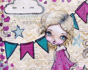Big Eyed Art Mixed Media Girl Giclee Print Make A Wish Signed by Lizzy Love [IMG#74]