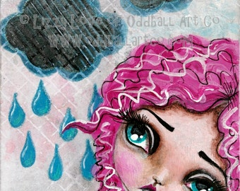 Mixed Media Big Eye Art Giclee Print Signed Reproduction Dreams No.5 by Lizzy Love [IMG#43]