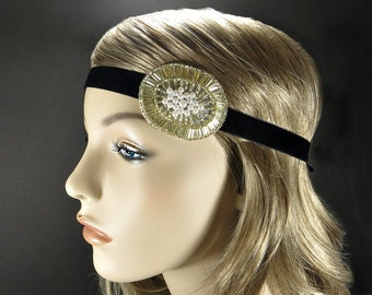 Gold Great Gatsby Headband, 1920s Hair Accessories, Flapper Headpiece, Halloween Flapper Costume Party Light Gold Beaded Headband