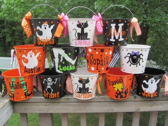 Personalized Halloween trick or treat bucket pail - many designs - trick or treat