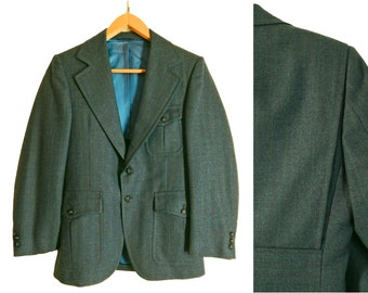 Vintage 70s Mens Suit Belted Action Back. Pleated Patch Pockets Wide Lapels. 37 38