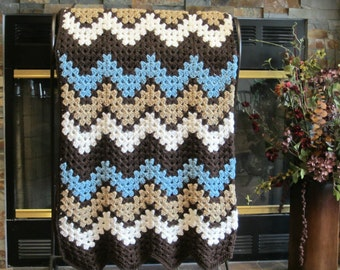 room decor crocheted ripple chevron blanket sea blue, ivory, taupe and brown Handmade by DonnasPinsandNeedles ready to ship