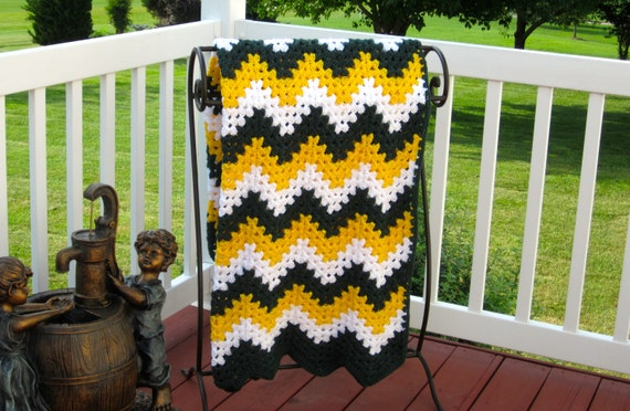 Crochet Pattern Green Bay Packer Afghan : Items similar to Green Bay Packers Cheesehead blanket ...