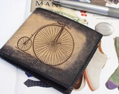 Mens Leather Wallet - Handmade Wallet - Personalized Wallet - Penny Farthing