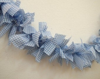 Gingham Garland, Blue and White, Dorothy Inspired, Country, Cottage Chic, Party, Wedding, Home Decor