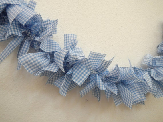 items similar to gingham garland blue white dorothy