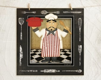 Kitchen Cuisine Chef II-12x12 Art Print - Kitchen, Home, Gifts, Wall Decor - Chef, Utinsels, Food, Coffee -White, Black, Red, Gold