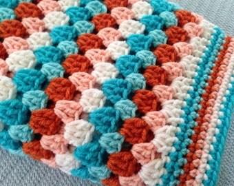 Crochet baby granny square blanket aqua white orange afghan crib stroller lap blanket babies handmade