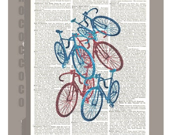 Red and Blue Bicycles/Americana - ORIGINAL ARTWORK print over an Repurposed  Vintage Dictionary page 8 x 10 -Upcycled Book Print