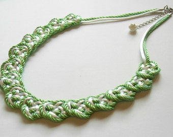 Chinese Knot Necklace with 925 Silver Chinese Knot Earring Set - Green