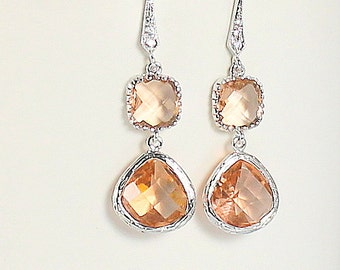 Champagne Earrings, Bridesmaid Earrings, Peach Earrings, Wedding Jewelry, Bridesmaid Jewelry. Blush Earrings, Bridesmaid Gift, Gift For Her
