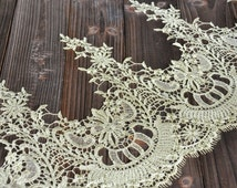 """Gold Lace Trim Gorgeous Baroque Embroidered Lace Trim Antique Scalloped Lace 10.23"""" Wide 1 Yard Wedding Dress Costumes Supplies"""