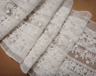 Cream White Tulle Lace Trim Cotton Floral Embroidered Tulle Lace 6.69 Inches Wide 1 yard