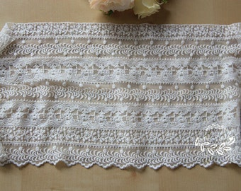 Off White Wide Cotton Tulle Lace Trim Floral Embroidered Lace 9 Inches Wide Wedding Lace Veil 1 yard