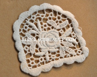 Cotton Appliques Vintage Off White Rose Embroidered Patches 4pcs