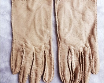 Vintage Tan Leather Short Gloves Ladies size 7 1/2