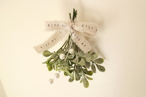 Shabby Chic Christmas Mistletoe . kiss . glitter mistletoe . white Christmas decor . hostess gift . stocking stuffer . unique gift