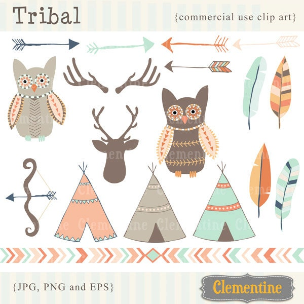 tribal clipart - boho tribal clip art set, dream catcher clipart