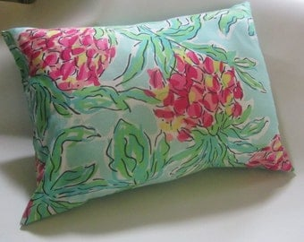 Pillow made with Lilly Pulitzer fabric Spike the Punch